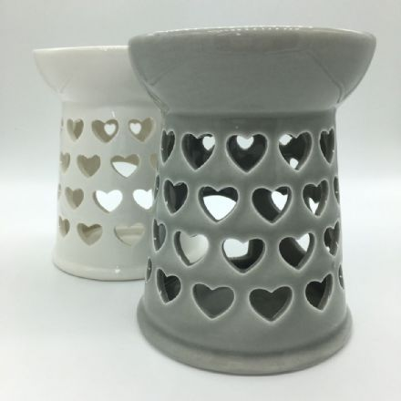 Ceramic Grey Or White Hollow Heart Wax Burner & Melts